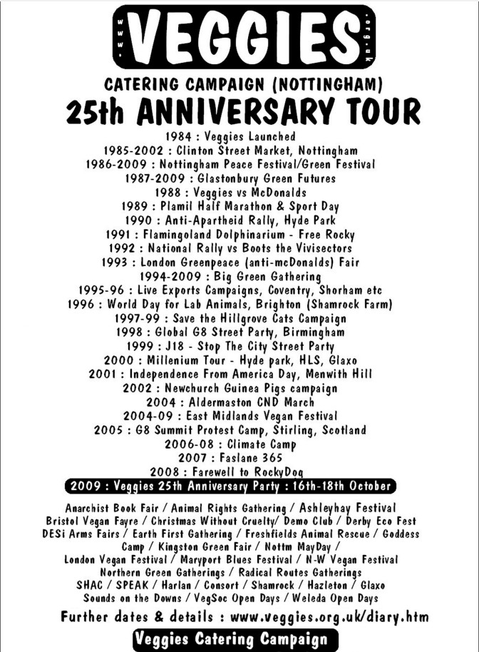 Diary dates t-shirt from Veggies 2009 tour