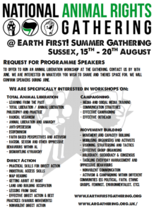 Animal rights gathering flyer