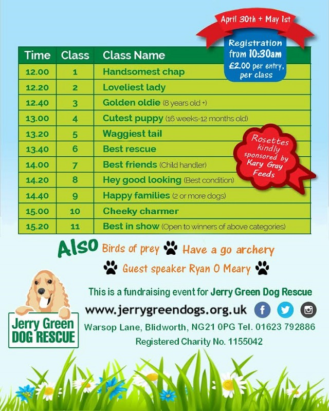 Flier for Jerry Green Dog Rescue event