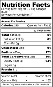 Sosage Mix Nutrition Label