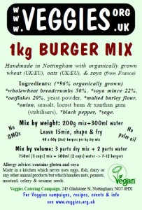Veggies Burger Mix Label