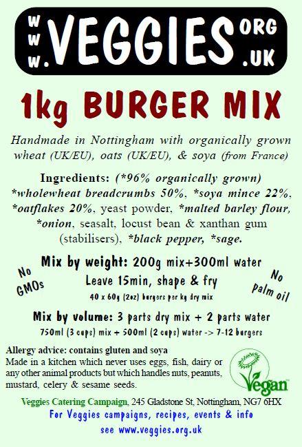 Veggies Burger Mix Label