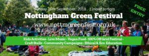 Nottingham Green Festival 2018 Banner