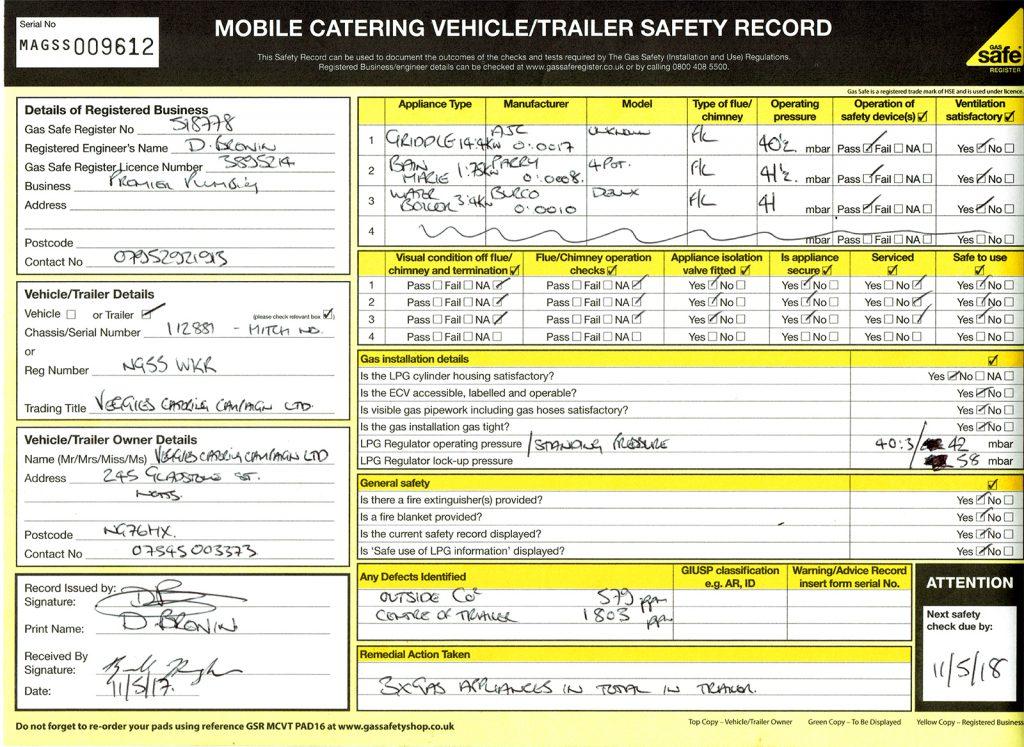 Veggies Trailer gas certificate