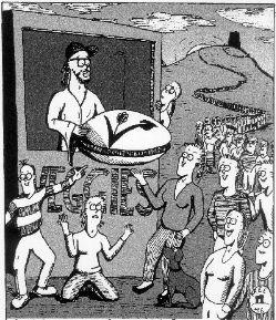 Cartoon of Veggies and Glastonbury Tor