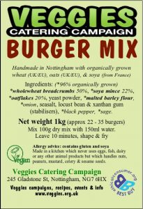 Veggies Vegan Burger Mix Label