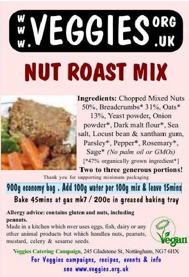 Veggies Vegan Nut Roast Mix Label