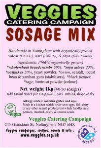 Veggies Vegan Sosage Mix Label