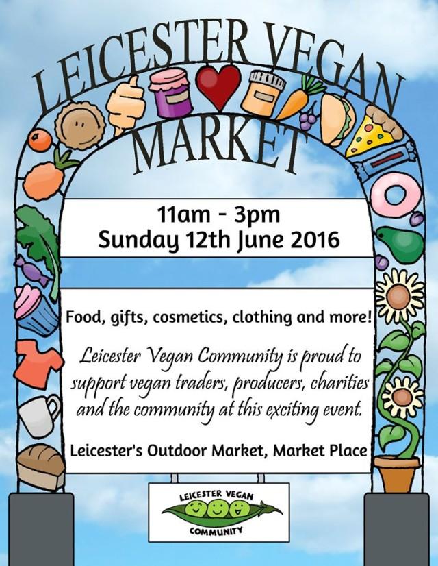 Flier for leicester vegan market