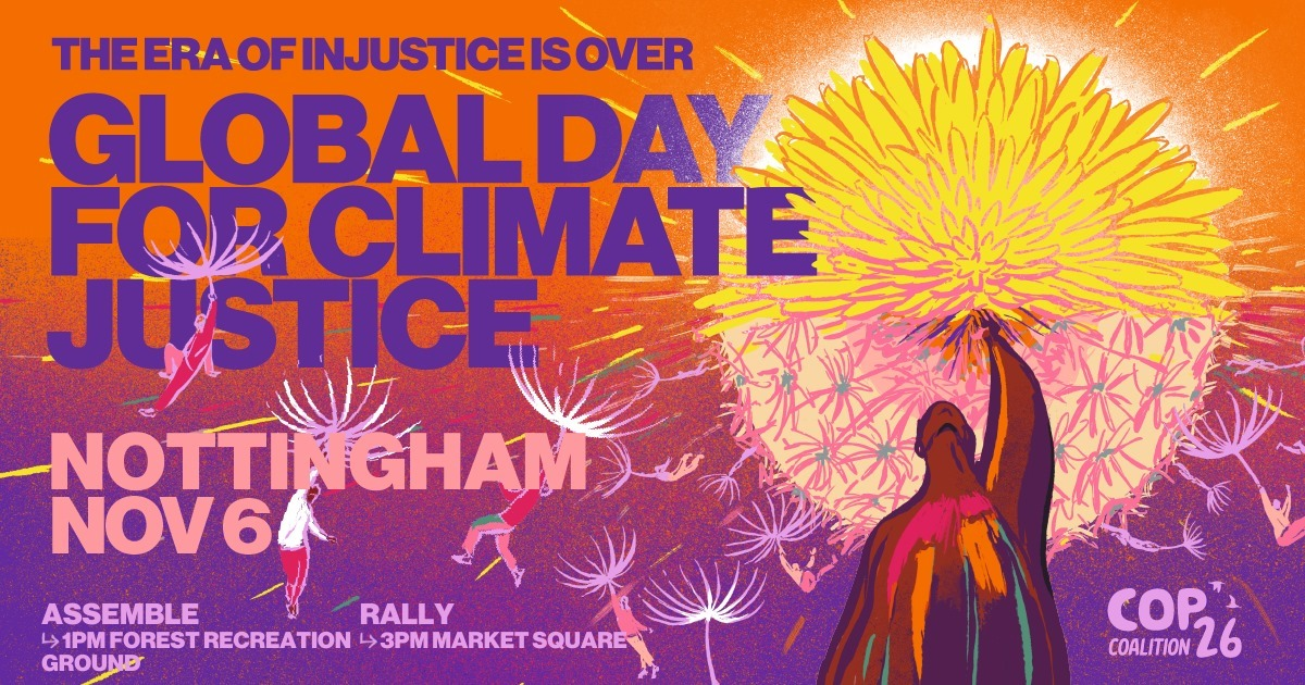 poster for nottingham COP26 rally on 6th November 2021