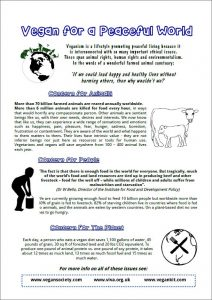 vegan for a peaceful world flier